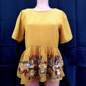 Floral Embroidered Mustard Anthropologie Top